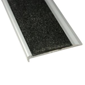 10mm x 71mm x 3620mm Aluminium Stair Nosing with Carborundum Insert