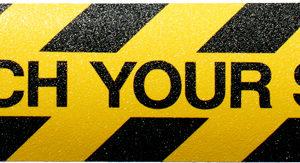 Watch your step anti-slip mat 150mm x 600mm