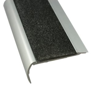 37mm x 75mm x 3620mm Anodised Aluminium Stair Nosing with Carborundum Insert